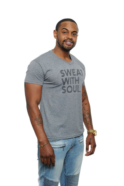Sweat With Soul Unisex V-Neck Tee Grey
