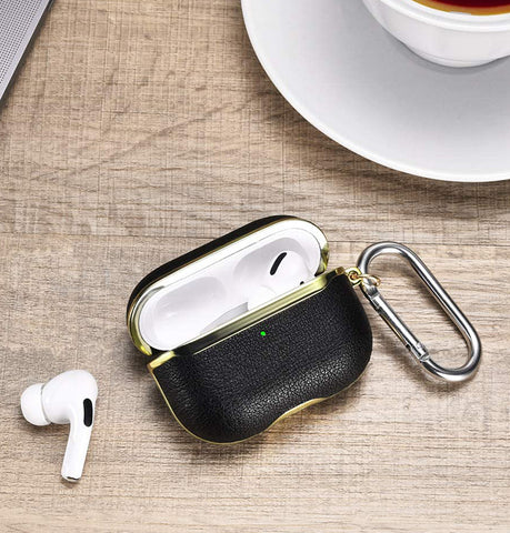 Customized leather airpod pro case and a pair of airpods