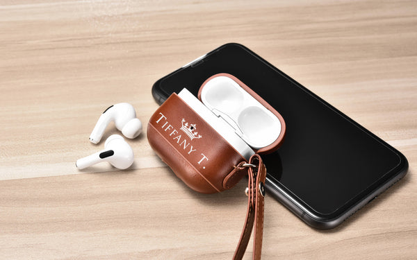 Personalized leather airpod case