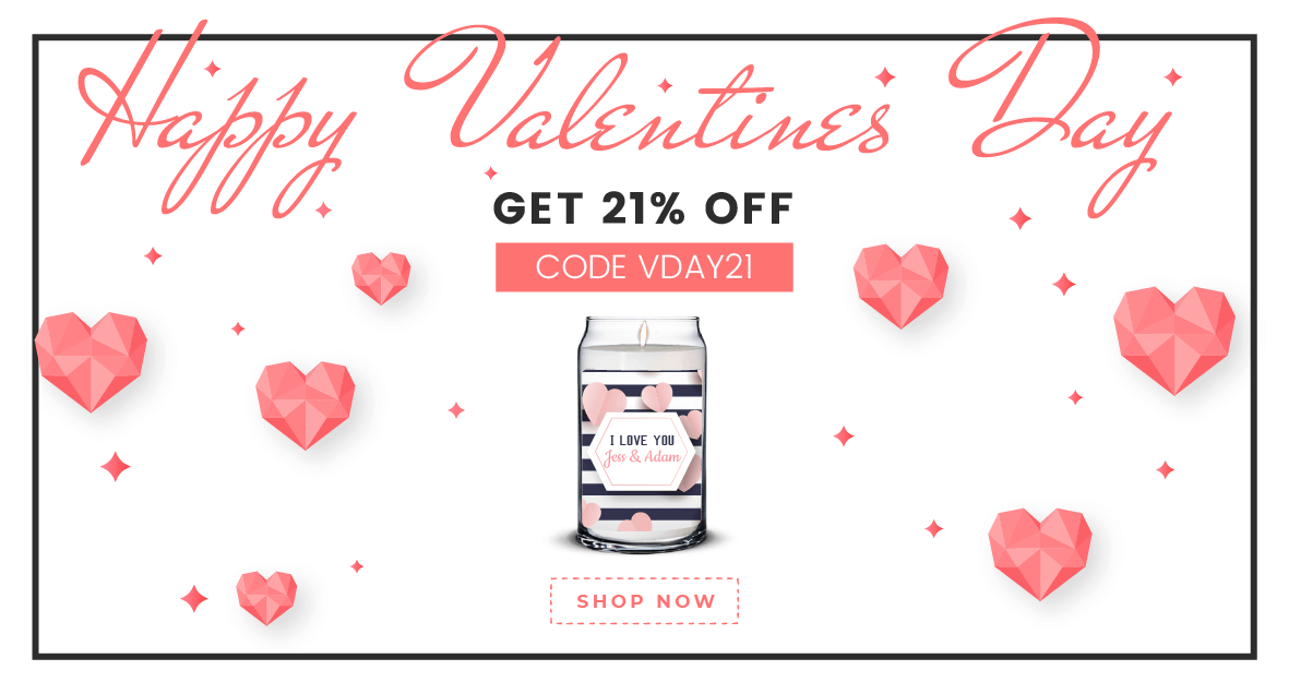 Custom Scented Candle - Valentines Patterns