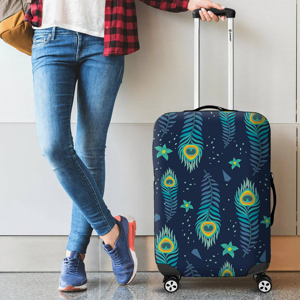 a person with a suitcase with a custom luggage cover