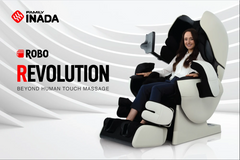 Lady sitting in a massage chair