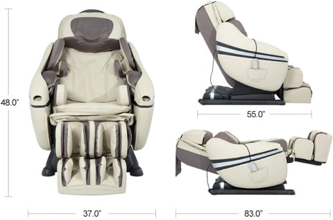 Inada DreamWave Dimensions - Front, Side, & Reclined Positions