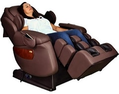 Luraco i7 Plus Massage Chair in Brown Reclined Position