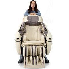 Massage Chair in Beige Color with Woman Standing