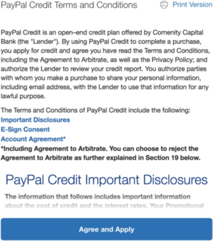 PayPal Credit Terms & Conditions