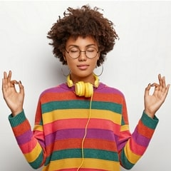 Relaxed Beautiful Lady with Afro Hairstyle