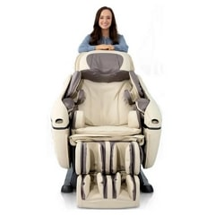 Woman Standing in the Back of a Massage Chair