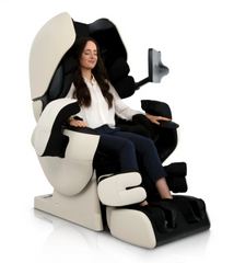 Lady relaxing in massage chair