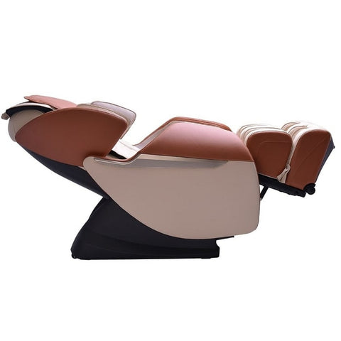 Brookstone BK-150 Massage Chair in Ivory & Toffee Reclined Position