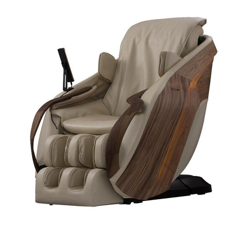 D.Core Cirrus Massage Chair in Cream in an angled side view.