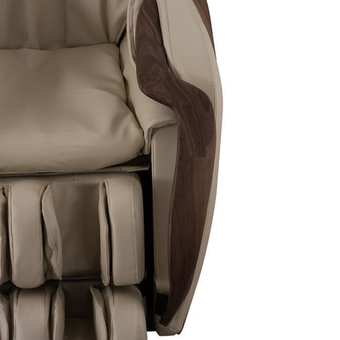 D.Core Cirrus Massage Chair in Cream up close view of the wood.