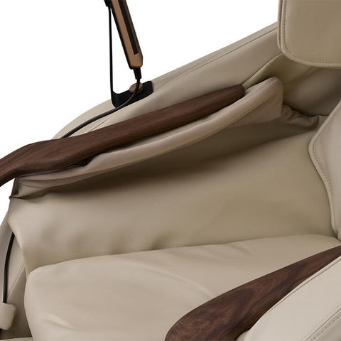 D.Core Cirrus massage chair up close view of the upholstery.