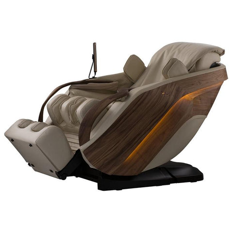 D.Core Cirrus massage chair semi-reclined at an angled view.