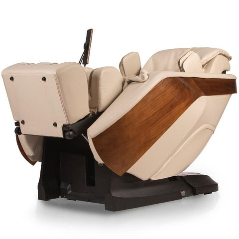 D.Core Cloud massage chair in cream color in reclined angled view.