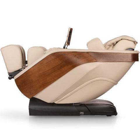 D.Core cloud massage chair in cream color in reclined side view.