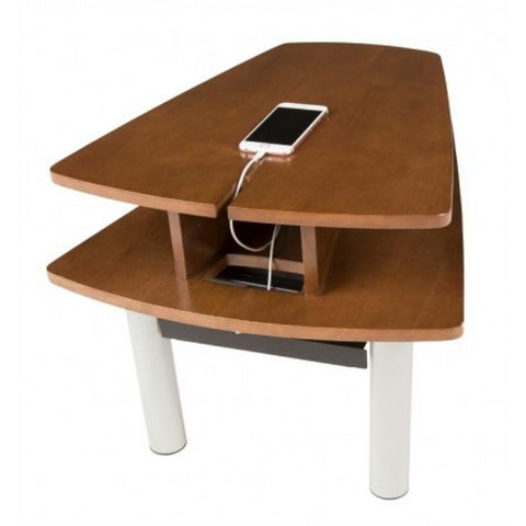 Human Touch Perfect Chair Media Table In Walnut Side View with cellphone
