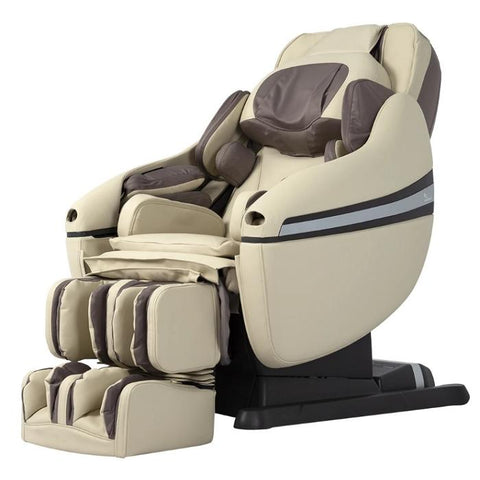 Inada DreamWave massage chair in Inada DreamWave massage chair in Beige color in an angled view of the side.