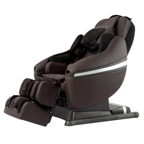 Inada DreamWave massage chair in Brown in angled side view.