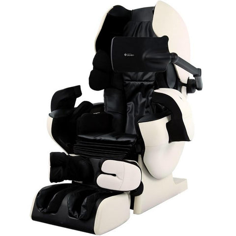 Inada Robo massage chair in black and ivory in an angled front view.