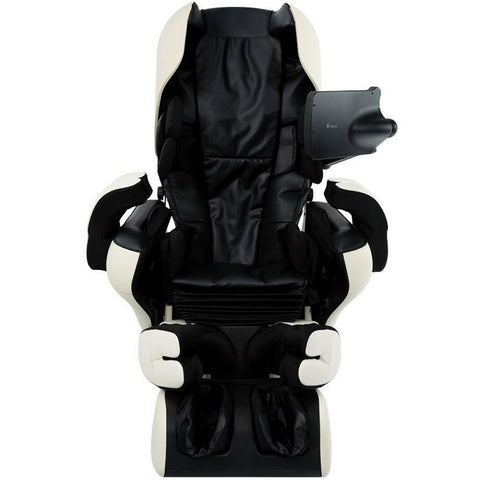 Inada Robo massage chair in black and ivory in a front facing view.