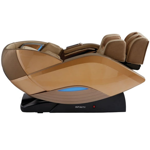 Infinity Dynasty 4D Massage Chair in Gold & Tan Reclined Position