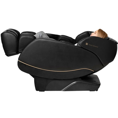Inner Balance Jin 2.0 Massage Chair in Black with Woman Lying Down