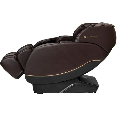 Inner Balance Jin 2.0 Massage Chair in Brown with Leg Extension Going Up