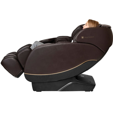 Inner Balance Jin 2.0 Massage Chair in Brown with Woman Lying Down
