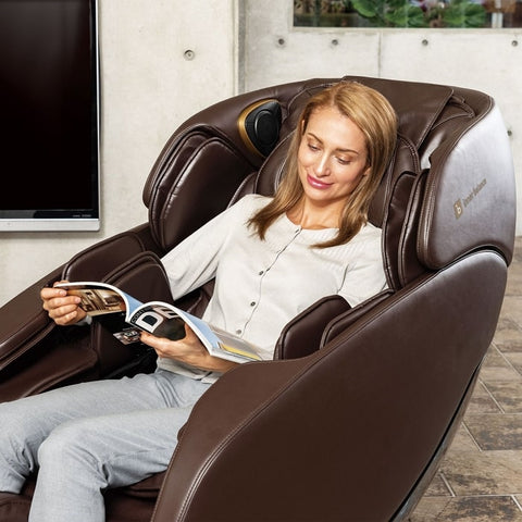 Inner Balance Jin 2.0 Massage Chair with Woman Relaxing