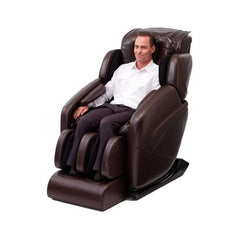 Inner Balance Wellness Jin Massage Chair in brown semi side view with person