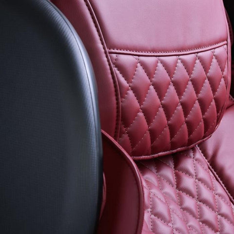 JPMedics Kumo 4D Massage Chair in red wine color close up of upholstery
