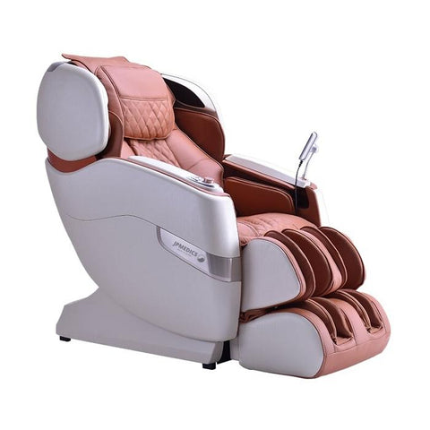 JPMedics Kumo 4D Massage Chair in pearl white cappuccino in semi side view angled
