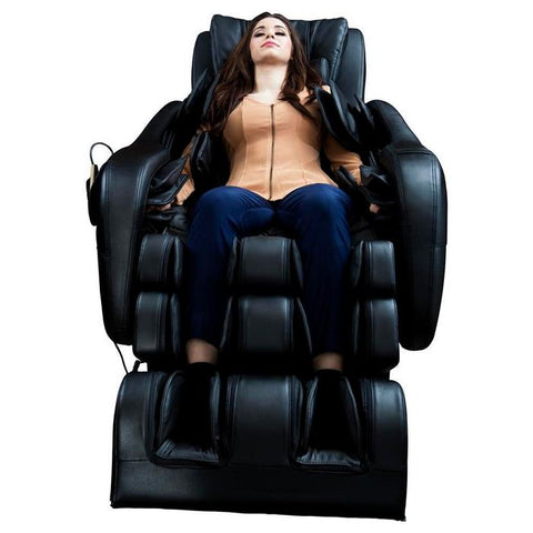 Luraco Legend Plus L-Track Massage Chair in black color front view with person