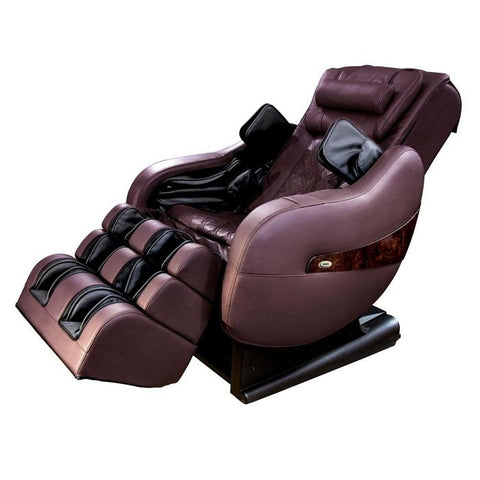 Luraco Legend Plus L-Track Massage Chair in chocolate brown semi side view