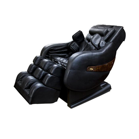 Luraco Legend Plus L-Track Massage Chair in black semi side view