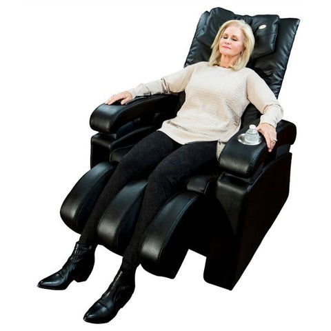 Luraco Sofy Massage Chair in black color semi side view with model