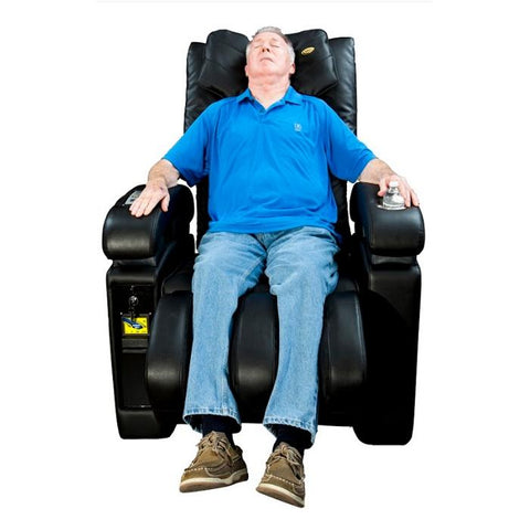 Luraco Sofy Commercial Massage Chair in black front view with model