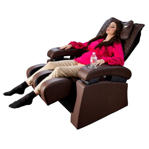 Luraco Sofy Massage Chair in brown semi side view with model