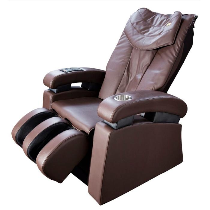 Luraco Sofy Massage Chair in brown semi side view