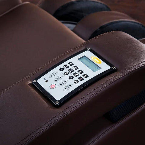Luraco Sofy Massage Chair in brown color  up close with controller