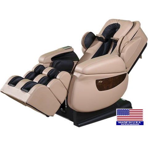 Luraco i7 Plus Massage Chair in Cream semi side view made is USA