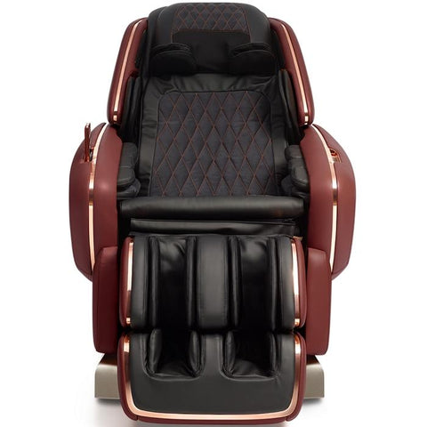 OHCO M.8LE 4D Massage Chair in bordeaux front view open doors
