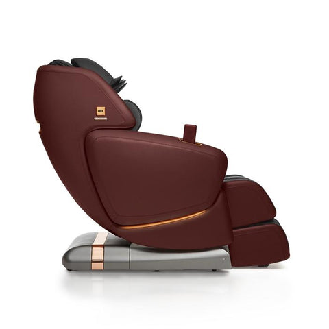 OHCO M.8LE 4D Massage Chair in bordeaux side view with white background