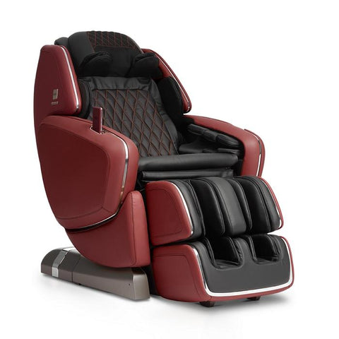 OHCO M.8 4D Massage Chair in bordeaux color semi side view