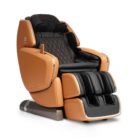 OHCO M.8 4D Massage Chair in orange color with saddle angled