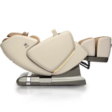 OHCO M.8 4D Massage Chair in pearl color lay flat reclined position