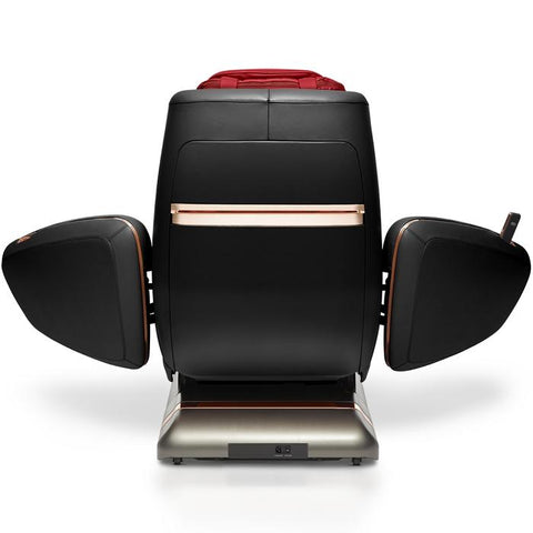 OHCO M.8LE 4D Massage Chair in rosso nero back view open doors