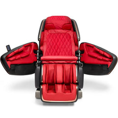 OHCO M.8LE 4D Massage Chair in rosso nero front view open doors