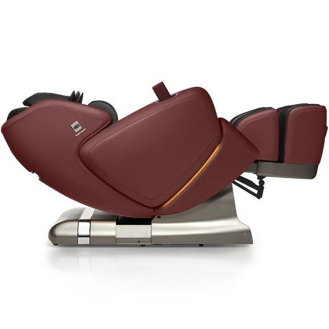 OHCO M.8 4D Massage Chair in bordeaux color lay flat reclined